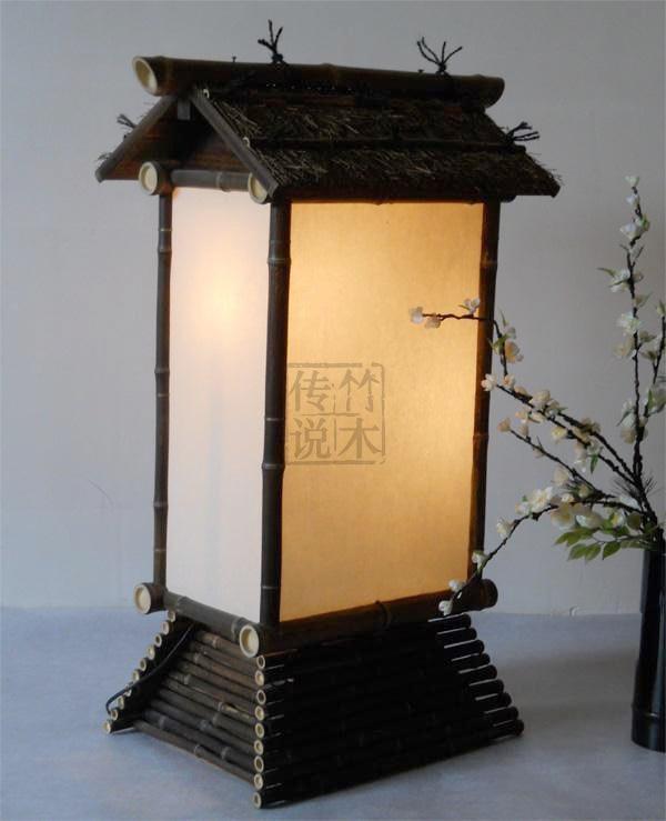 bamboo retro wood chinese style floor lamp japanese Japanese teahouse clubhouse japanese daiso