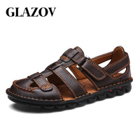 GLAZOV Genuine Leather Men Sandals Shoes Fretwork Breathable Fisherman Shoes Style Retro Gladiator Summer men Business Shoes