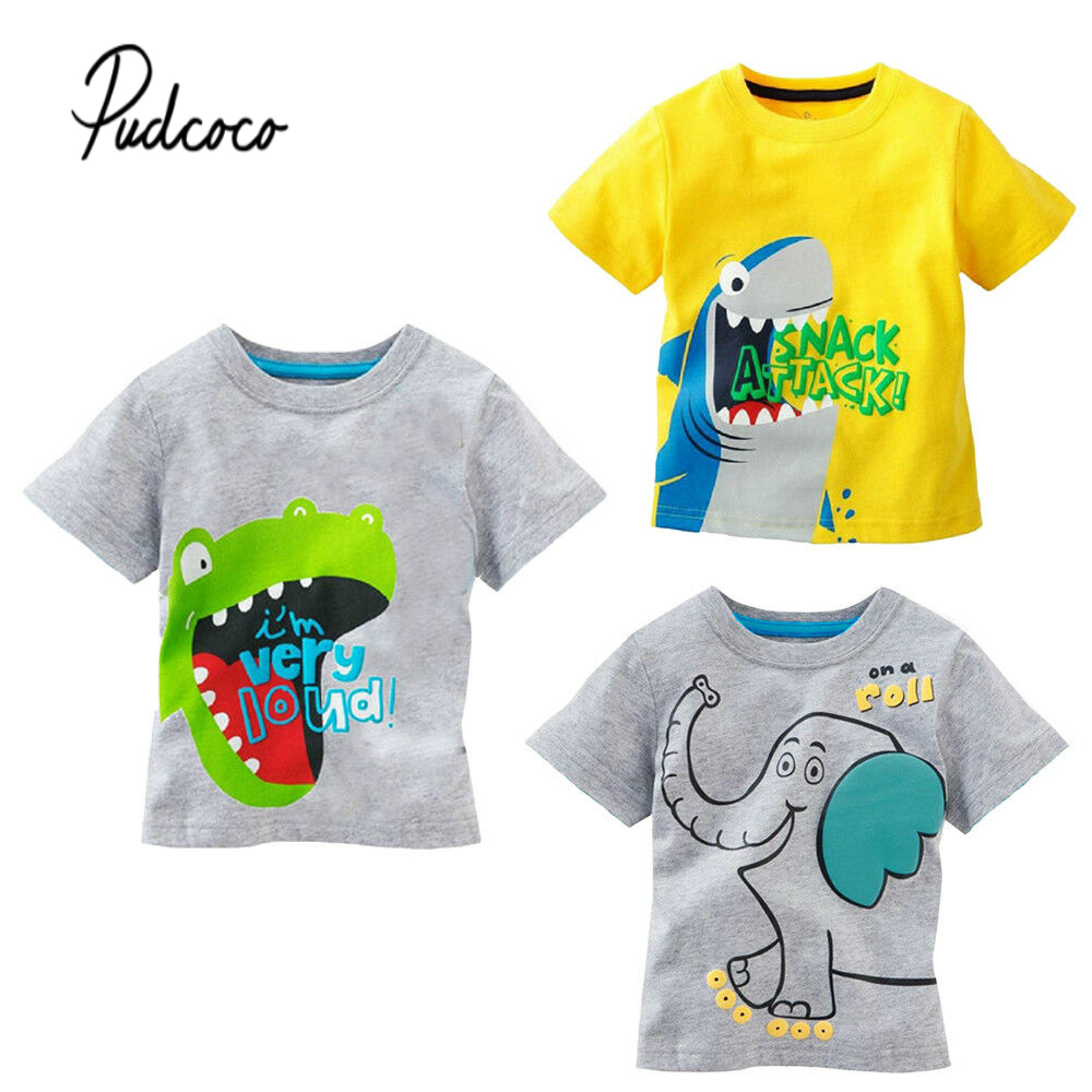 2019 Pudcoco Hot Sale Pullovers Short Sleeve Cartoon Toddler Baby Kids Boys Cotton Tops T-shirt Clothes 1-6 Years