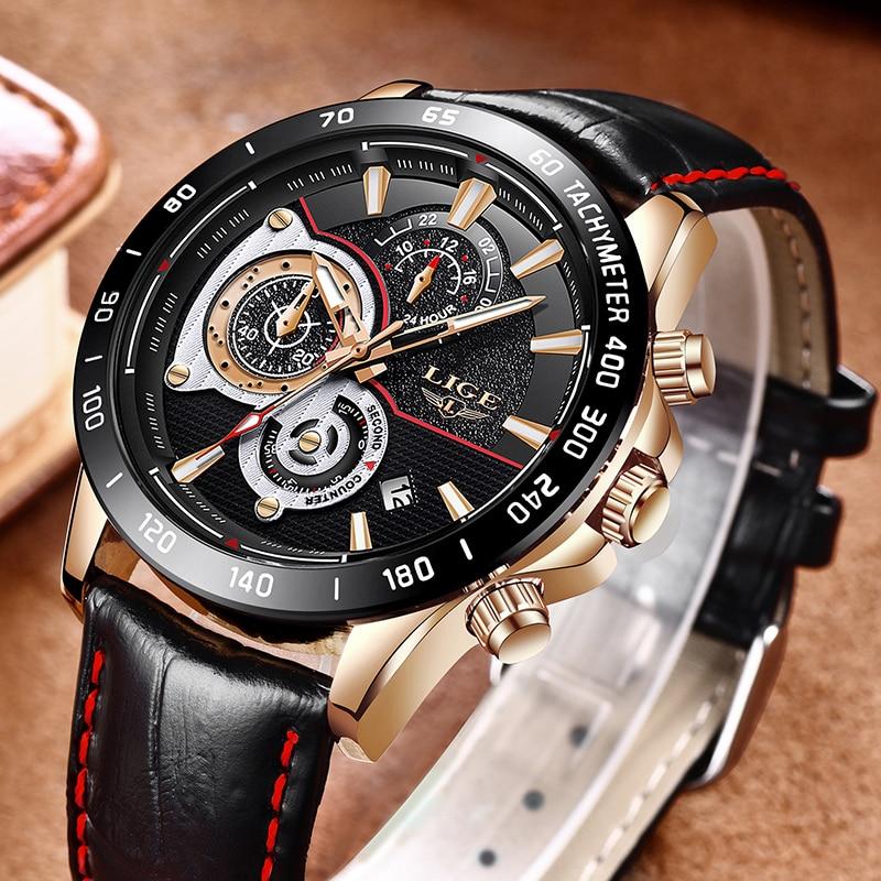 LIGE Mens Watches Top Brand Luxury Casual Leather Gold Quartz Watch Men Military Waterproof Sport Wrist Watch Relogio Masculino