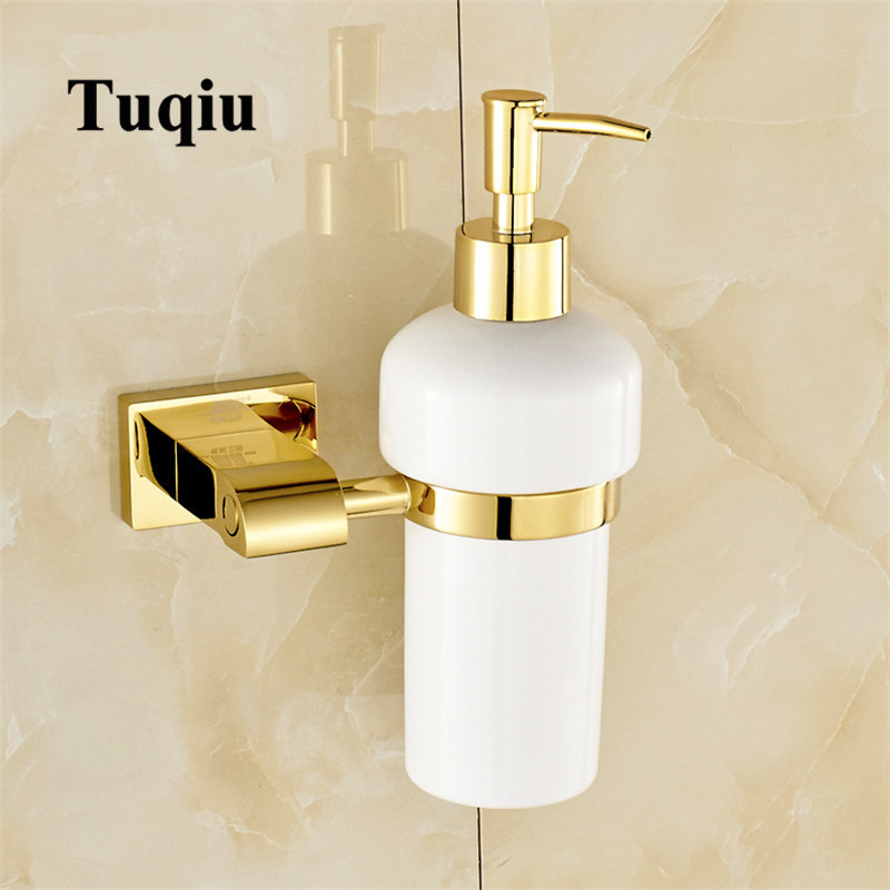 Liquid Soap Dispensers Luxury Gold Soap Dispenser Wall Mounted With Frosted Glass Container bottle Bathroom Hand