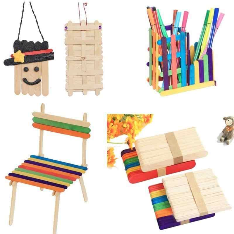 50pcs/lot Kids DIY Wooden Puzzle Toys Children Hand Crafts Art Assembly Making Toys Funny Natural Wood Ice Cream Popsicle Stick