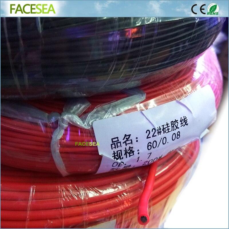 20เมตร/50เมตร/100เมตรสีแดงสีดำซิลิคอนสาย22AWG Heatproofซอฟท์ซิลิโคนเจลซิลิก้าสายลวดสายไฟฟ้าสายทองแดง