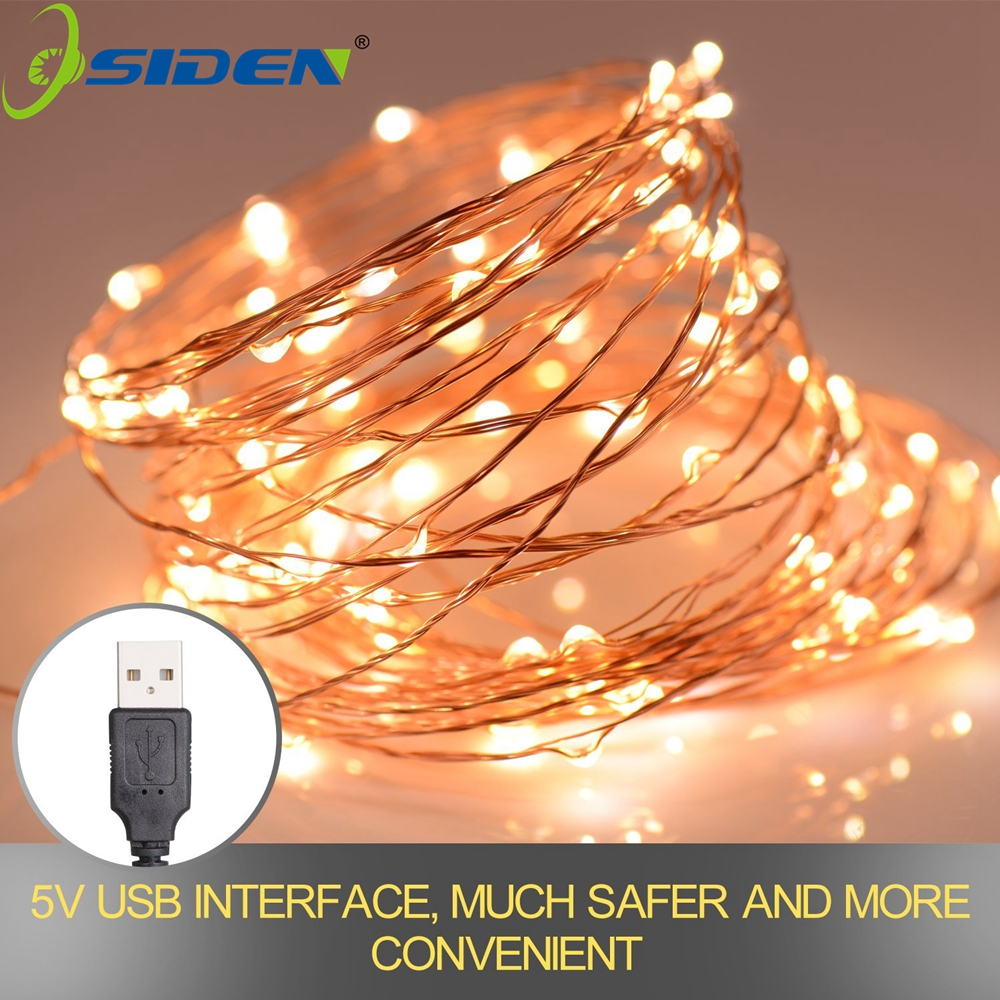 LED String Usb 5v Strip Powered Decorative Silver String Christmas Lights 2M/5M/10 Warm White White For Christmas Wedding Party