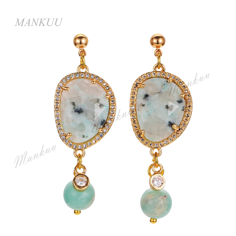 Valentine Gift Women Jewelry Semi-precious Stone Sea Sediment Bead Drop Earrings Golds Plate Zircon Micro Paved Dangle Earrings