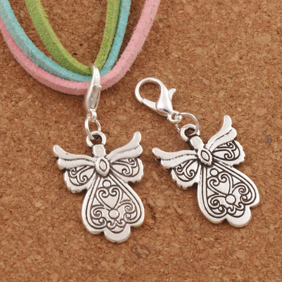 18PCS Antique silver Heart Guardian Angel Clasp European Lobster Trigger Clip On Charm Beads C209 37.4x18.1mm