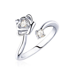 цена на Hot sell fashion crown design female shiny crystal 925 sterling silver ladies`finger rings birthday gift wholesale