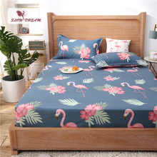 Slowdream 1PCS Flamingos Cartoon Bed Sheets On Elastic Band Rubber Sheet Mattress Covers Nordic Fitted Sheet Adult Double Size недорого
