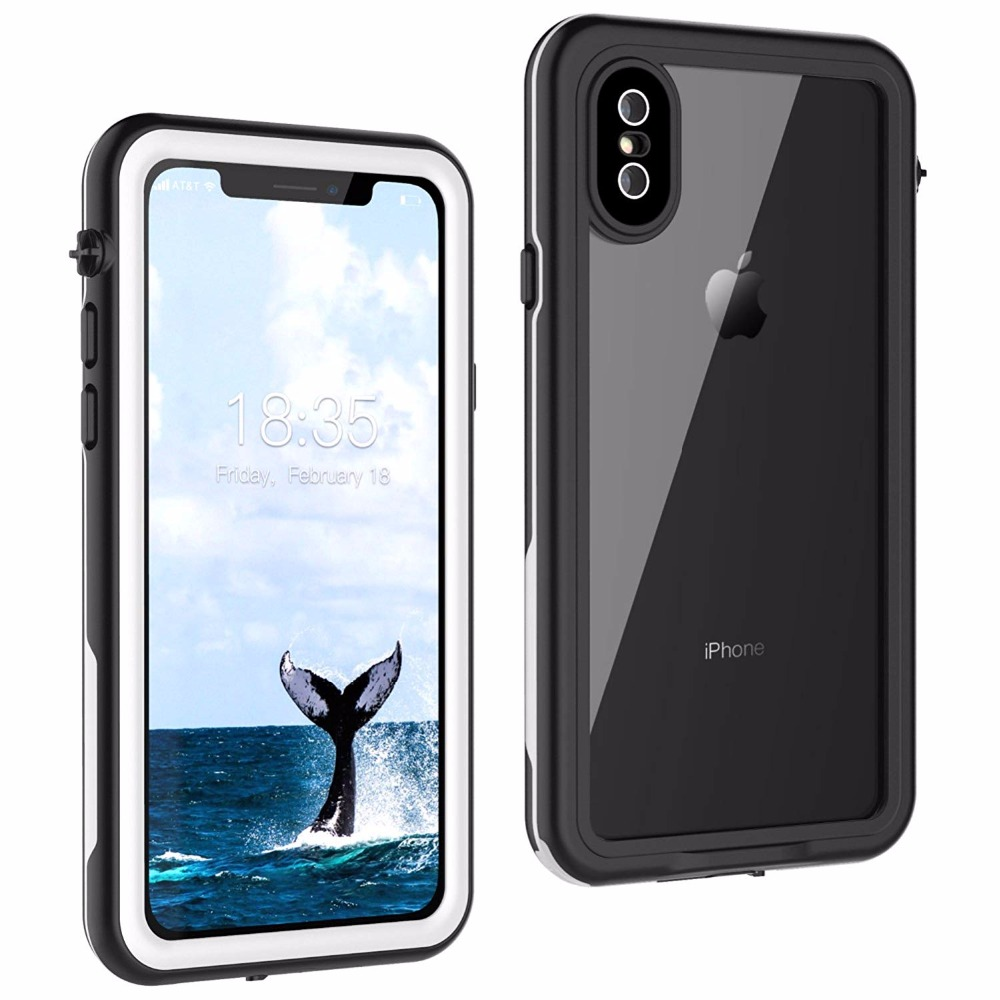 For iPhone X Waterproof case life water Shock Dirt Snow Proof Protection for iPhone X With Touch  ID Case Cover-White
