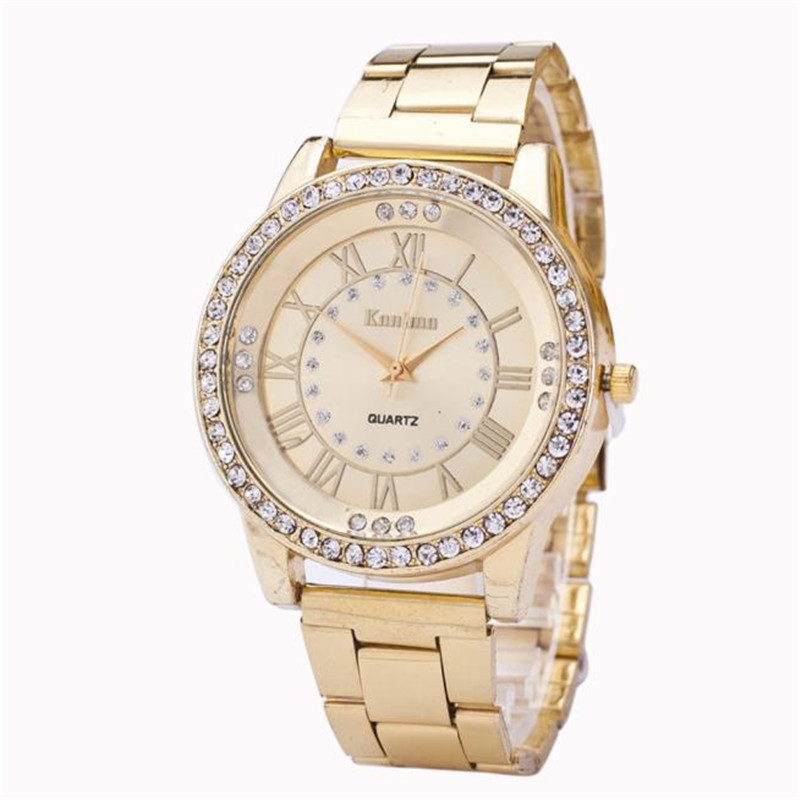 купить New Fashion Casual Watch Women's Men's Crystal Rhinestone Stainless Steel Analog Hour Quartz Wrist Watch Unisex Clock Relogios недорого