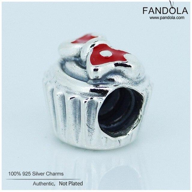 Fits Pandora Bracelets Minnie Cupcake Beads 925 Sterling Silver Jewelry DIY Fashion charms for women New1PCS/lotFL129