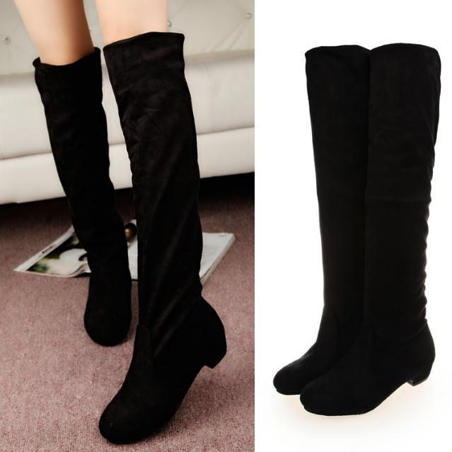 2015 spring new tall canister boots, knee leggings suede flat boots size 35-40