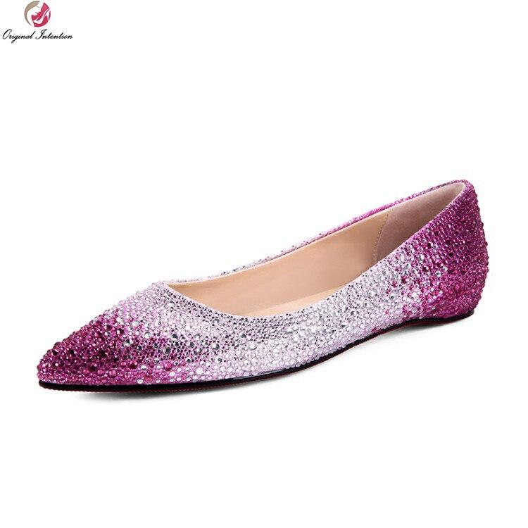 Original Intention Gorgeous 2018 Women Flats Nice Rhinestone Pointed Toe Flat Shoes Black Gold Fushcia Shoes Woman US Size 4-8.5 цены онлайн