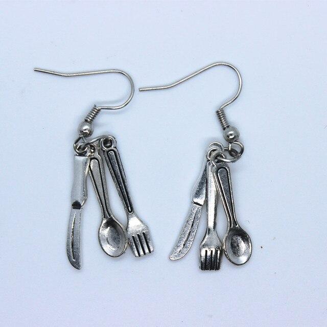 1 Pair DIY Women Silver Color Alloy Earrings tableware ...