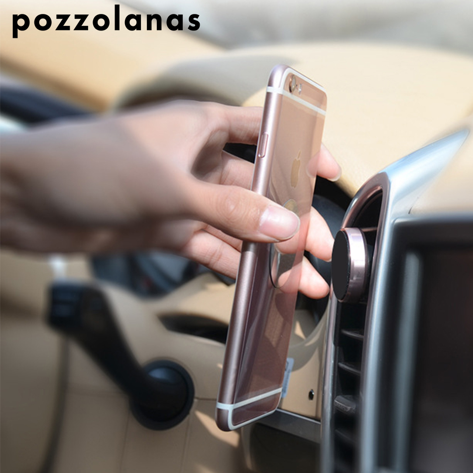 Pozzolanas Car Phone Holder Magnetic Air Vent Mount Mobile Smartphone Stand Magnet Support Cell in Car Round For iPhone XS Max smartphone