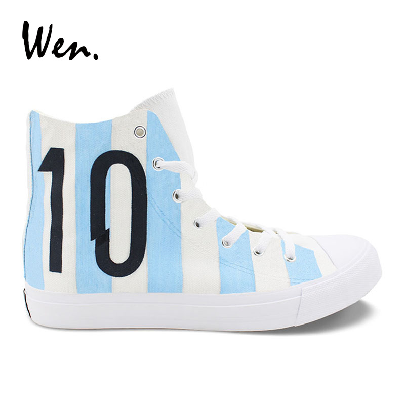 6b717e90e Wen Design Football Soccer Number 10 Argentina National Team Hand Painted Casual  Shoes White High Top Canvas Unisex Sneakers
