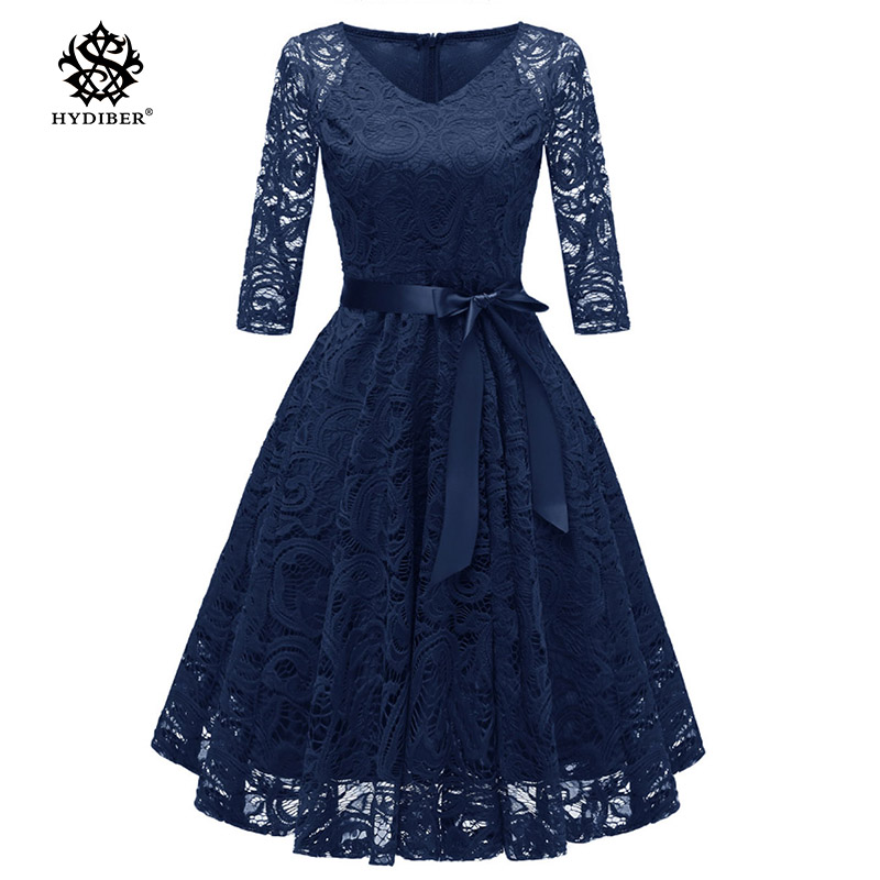 spring summer Lace Dress Work Casual Slim Fashion V-neck Sexy Hollow Out Blue Red Dresses Women A-line Vintage Vestidos 2018