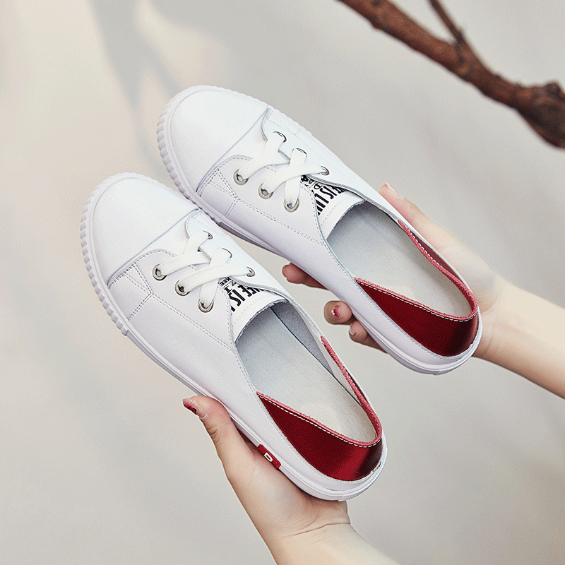 Jookrrix 2018 Spring New Fashion Brand Real Leather Lady White Shoe Women Shoe Girl Leisure Sneaker Breathable Soft All Match