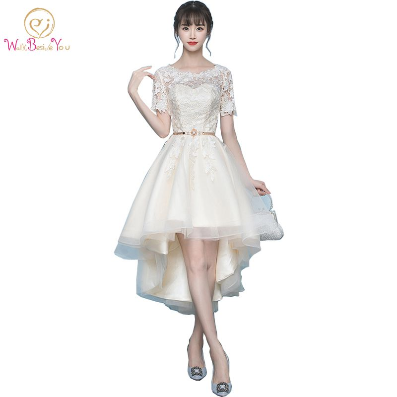 Walk Beside You Real Picture Champagne   Prom     Dresses   Short Front Long Back with Crystal Belt Lace Applique Evening Party   Dresses
