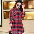 M-XXL 2017 Hot Ladies Blouses Summer Two Pockets Casual Cotton Long Plaid Shirts Women Cotton Blusas Femininas Women Tops 6690