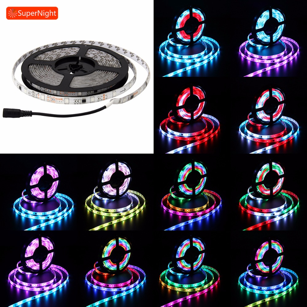 SuperNight Automatic SMD 5050 RGB LED Strip Fairy Light 5M 30LEDs/m DC 12V Waterproof IP65 Flexible Tape Decorative Lamp Band sencart 50w 60 x smd 5050 red light led module waterproof ip65 dc 12v