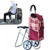 A, Big Aluminum Alloy Shopping Cart with Oxford Cloth Bag High Quality Foldable Luggage Climbing Cart With Seat 8 Wheel