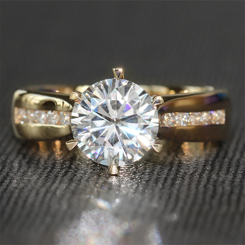 Transgems Wedding-Ring Grown Gold-Band Diamond Solitaire Moissanite Accents Yellow Solid-14k