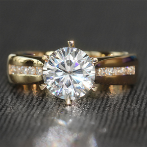 Image 1 - TransGems 2 Carat Lab Grown Moissanite Diamond Solitaire Wedding Ring  moissanite Accents Solid 14K Yellow Gold Band for Women