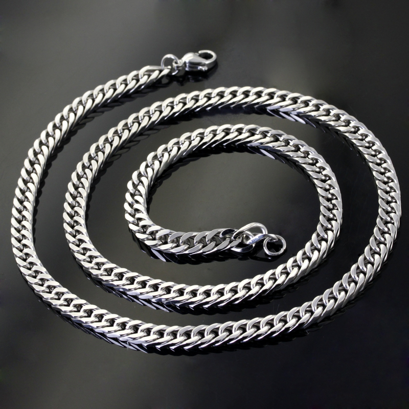 Wholesale Retail! 60cm*5.7mm 37g Fashion Silver Stainless Steel Cow Boy Chains Neklace Men/Boy, Lowest Price Best Quality
