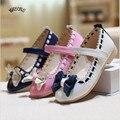 Sapatas do miúdo Crianças Menina Sandália 2016 Verão Nova De Couro Coreano Princesa Sandalias Sandale Menina Sandale Fille Calçado Feminino C821