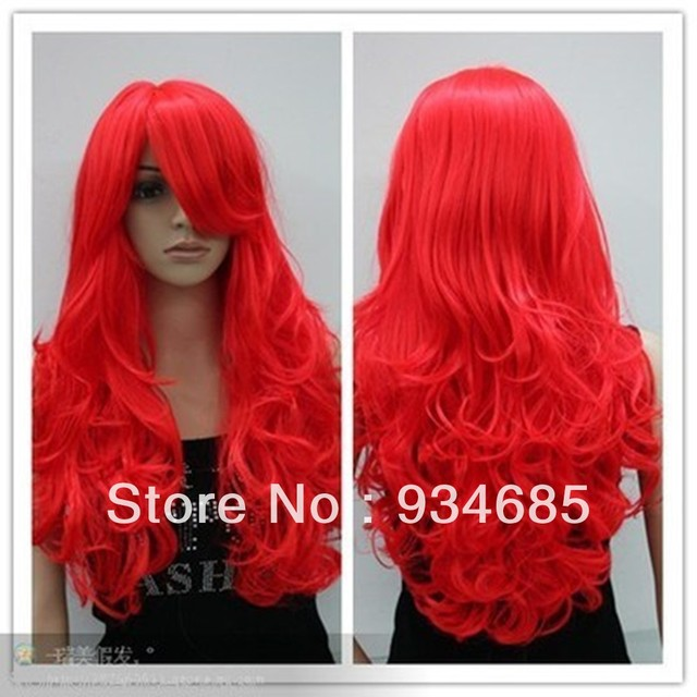 Free Shipping! Bright red long curly cosplay full wig + wig cap