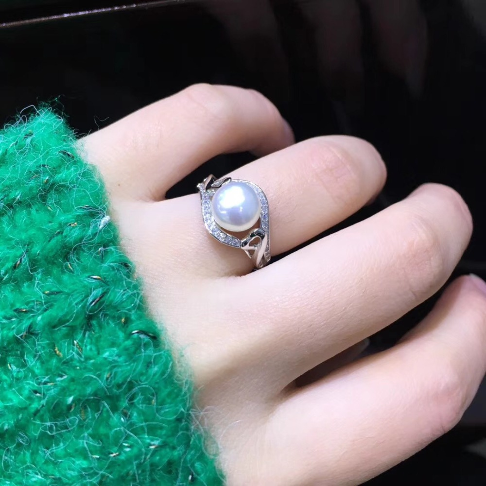 YIKALAISI 925 Sterling Silver Jewelry Pearl Ring Jewelry For Women Fashion 100% Natural 8-9 Mm Freshwater Pearl Wholesale