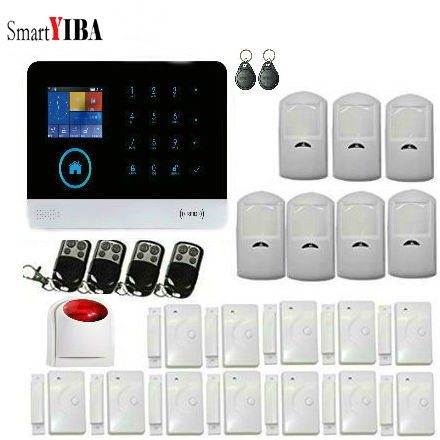 SmartYIBA Hot!!! WIFI GSM Home Security Alarm System Remote Control English Russian Spanish German French Polish Door Sensor qolelarm spanish polish touch screen home alarm security system gsm wifi mini ip camera free cloud service door sensor 433mhz page 3