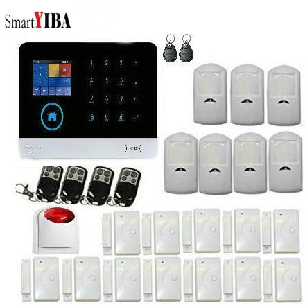 SmartYIBA Hot!!! WIFI GSM Home Security Alarm System Remote Control English Russian Spanish German French Polish Door Sensor