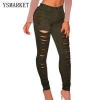 Vrouwen Groen Potlood Skinny Jeans Ripped Butt Lifting Skinny Jeans Goedkope braziliaanse butt lift jeans gedessineerde Ripped jeans 78646