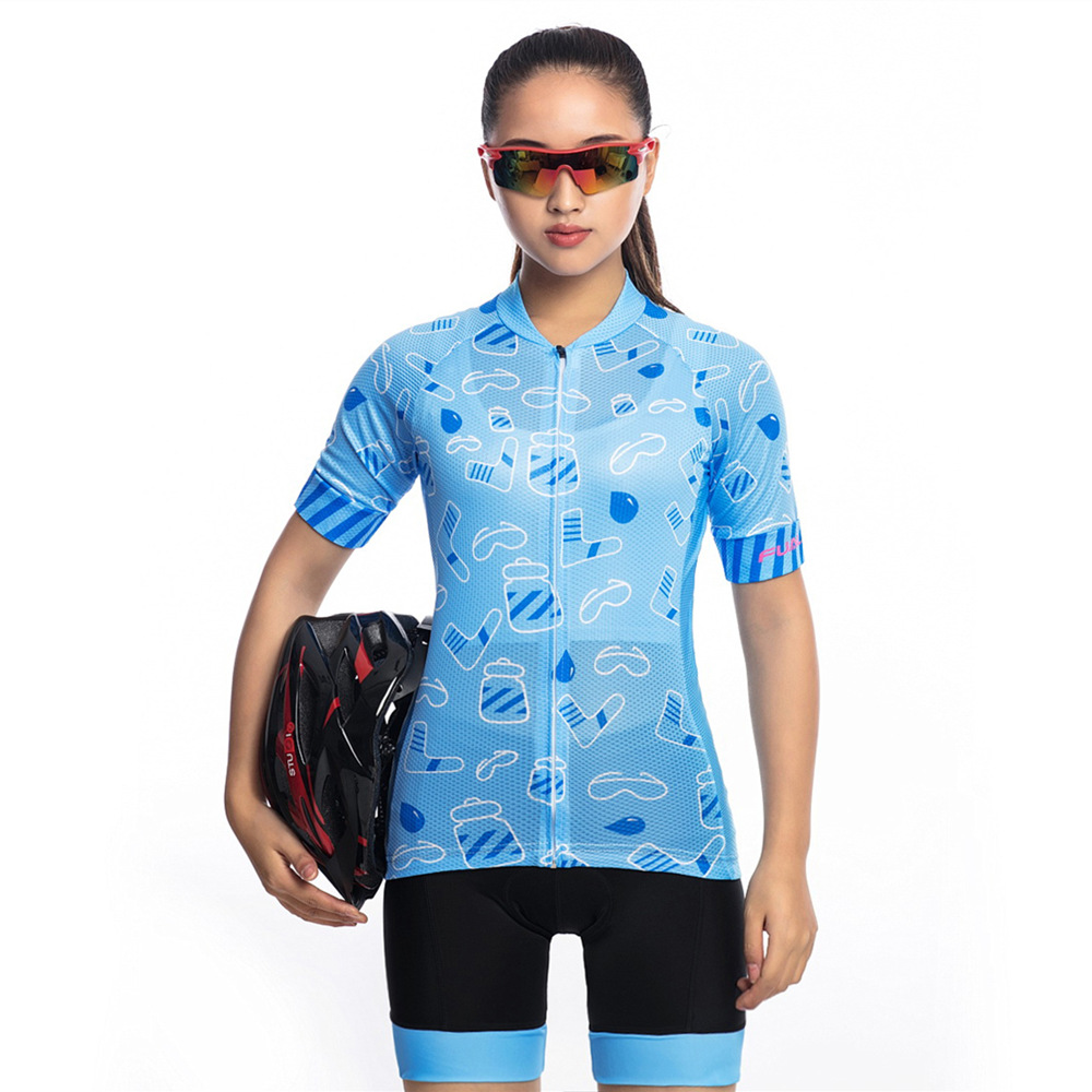 FUALRNY New Womens Cycling Jersey Set Summer Anti-UV Bicycle Clothing Quick-Dry Road Mountain Bike Clothes