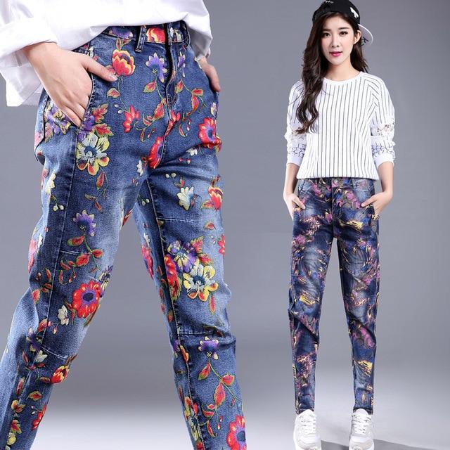 2017 Spring Summer Floral Print Elegant Painting Denim Jeans Loose Harem Pants High Waist Vintage Capris Jean