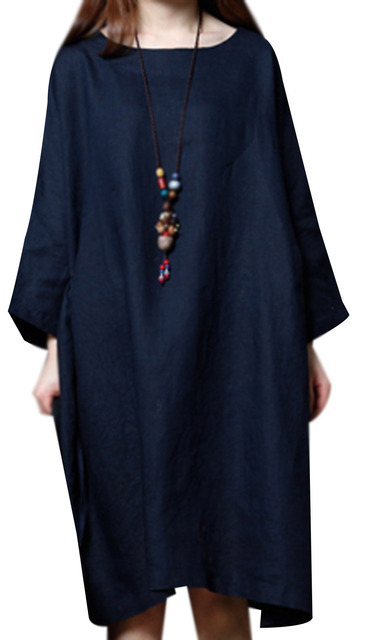 P Ammy Lagenlook Plus Size Linen&Cotton Fashion Short sleeve Dress