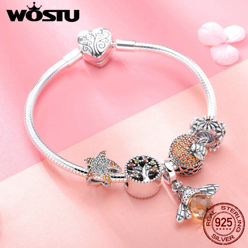 WOSTU Original Real 925 Sterling Silver Bee & Daisy Yellow Style Charm Bracelet For Women S925 Silver Bead Jewelry Gift BKB805 rock style star bee heart faux crystal charm bracelet for women