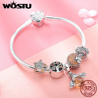 WOSTU Original Real 925 Sterling Silver Bee & Daisy Yellow Style Charm Bracelet For Women S925 Silver Bead Jewelry Gift BKB805