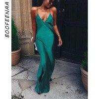 BOOFEENAA Зеленый атласные шелковые сексуальное платье макси Для женщин элегантное для вечеринки и клуба платья Спагетти ремень спинки платье-...