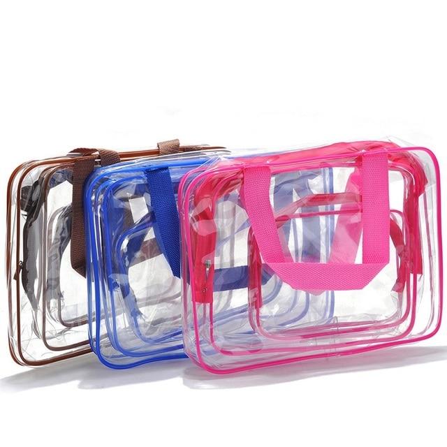3pc Transparent PVC Storage Bag Travel Organizer Clear Makeup Bag Beautician Cosmetic Bag Beauty Case Toiletry  Pouch Wash Bag