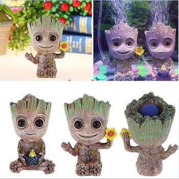 Baby Groot Tree Man Figurine Aquarium Decoration Air Bubble Trunk Driftwood Fish Tank Lanscaping Ornament Use With Air Pump figurine