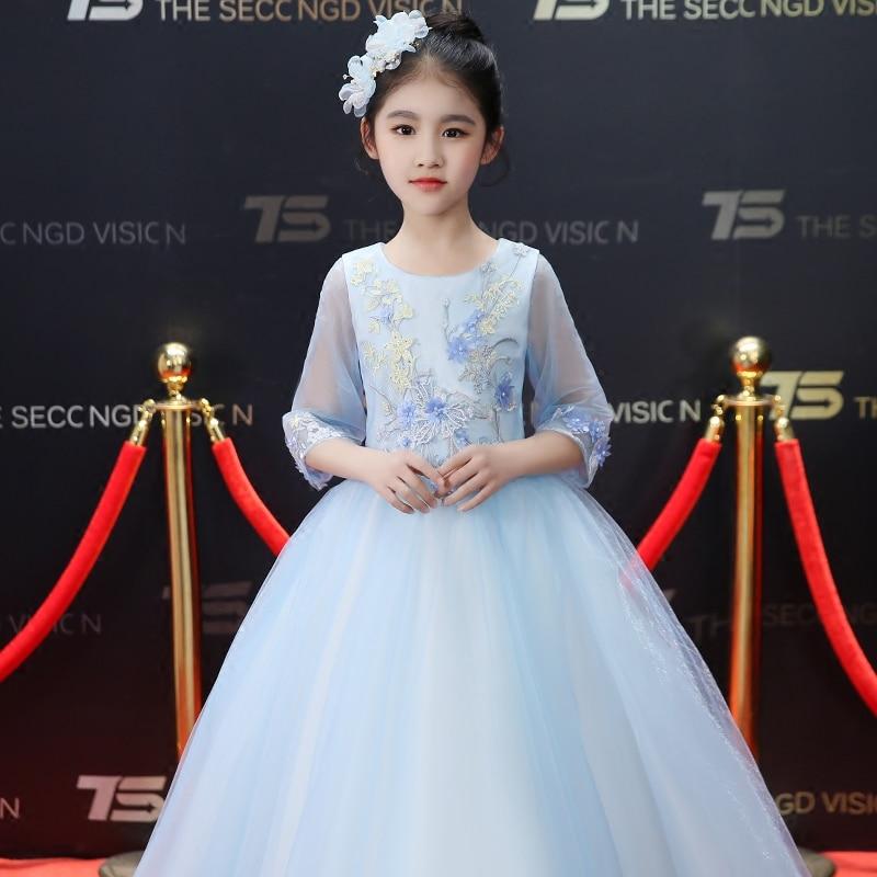 New Hand Made Flowers Dress For Children Kids Fashion Birthday