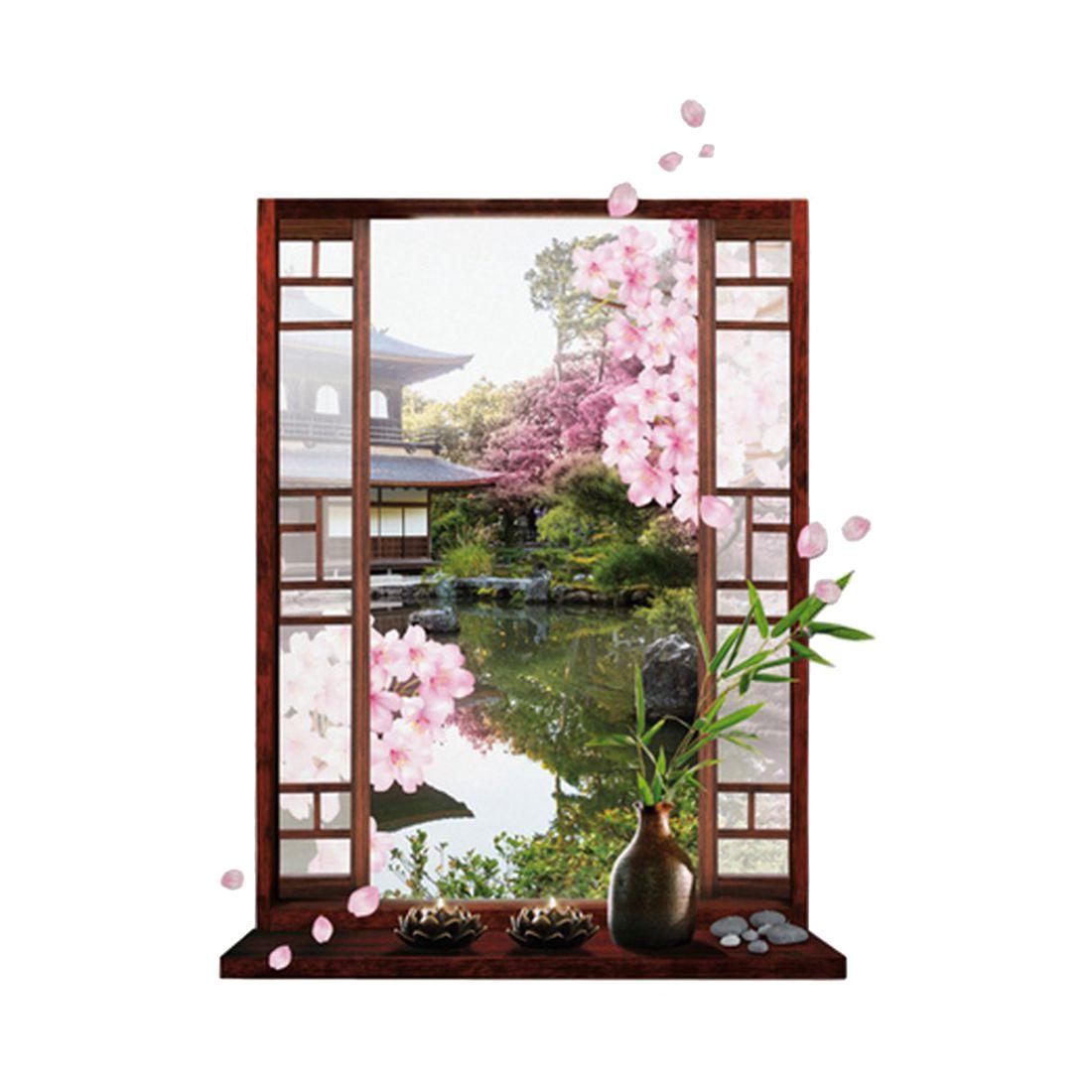 Hot 3D fenêtre Sakura fleur de pêche fleur Art Sticker Mural amovible décalcomanie murale