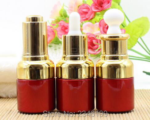 20ML 20G Red Color Glass Oil Bottle With Gold Color Cap Plastic Head With Dropper and