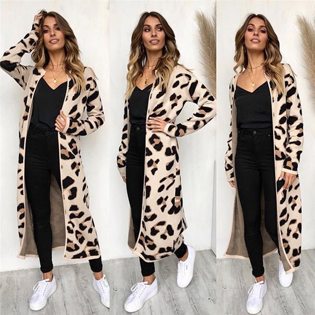 1ded94d37aa4 2018 New Brand Autumn Winter Fashion Women Leopard print Long Sleeve loose  knitting Sweater Women Knitted Coat Female Cardigan