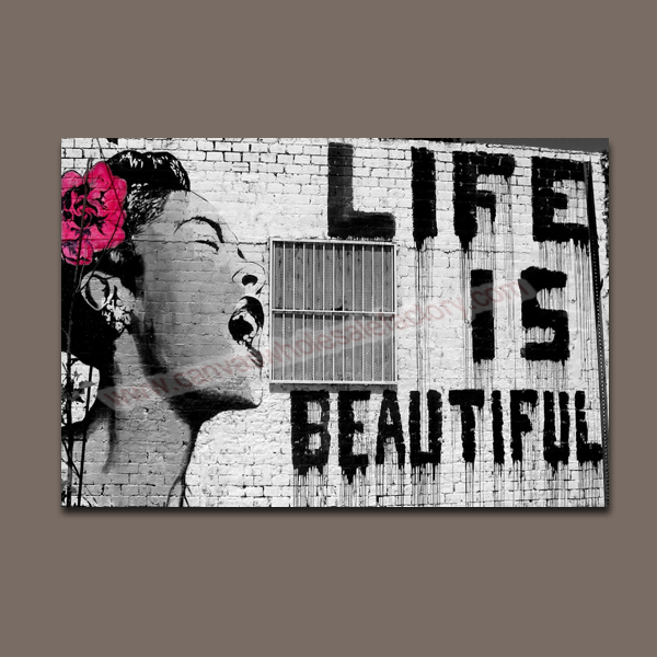 Home Decor Banksy Canvas Art Painting of Life is Beautiful Wall ...