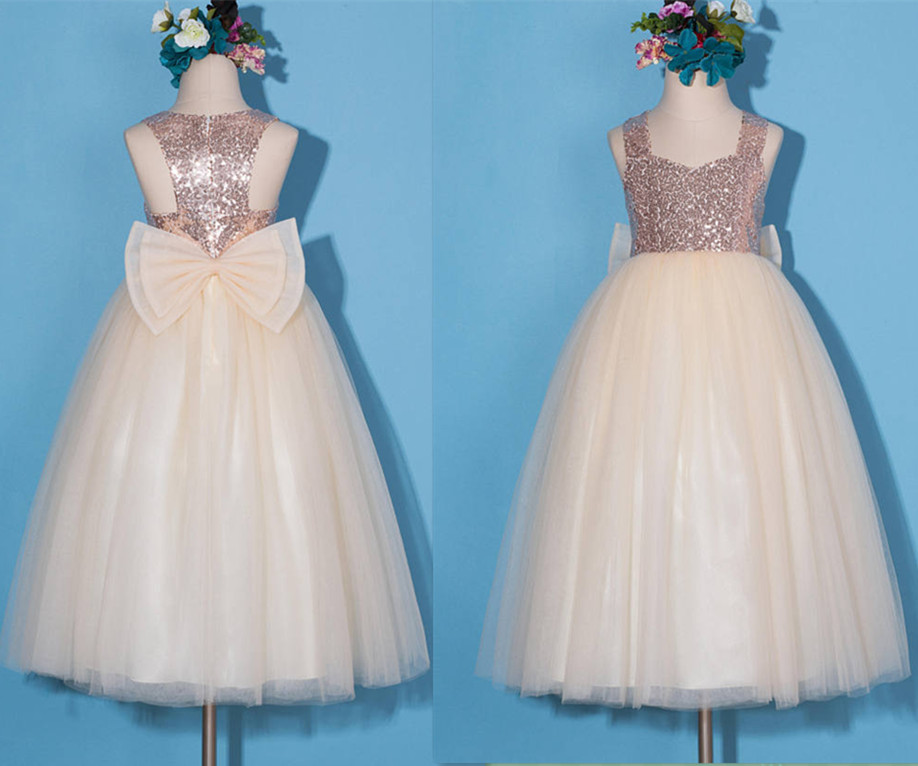 Rose Gold Flower Girl Dress 2017 Custom Made Girls Dresses with Sequins Bow Pageant Gown Any Size ow amelie lacroix widowmaker cosplay costume custom made any size