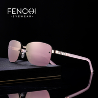 FENCHI Sunglasses Women designer brand luxury rimless retro sunglasses pink mirror rave trendy shades lunette soleil femme
